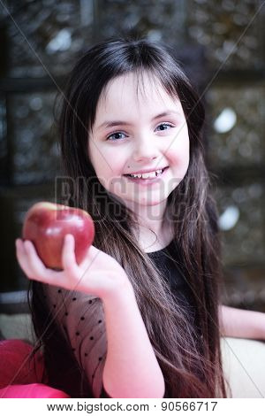 Pretty Little Girl With Apple