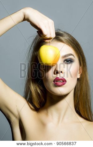 Beautiful Young Sexual Woman With Apple