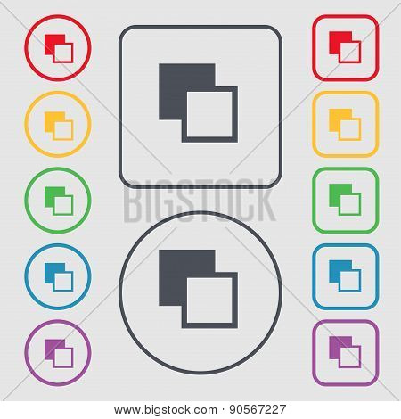 Active Color Toolbar Icon Sign. Symbol On The Round And Square Buttons With Frame. Vector