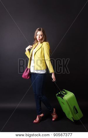 Sad Woman Leaving With A Luggage