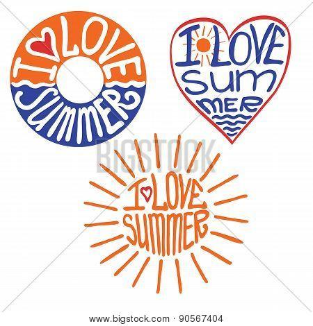 Lifebuoy,heart,sun in words I love summer