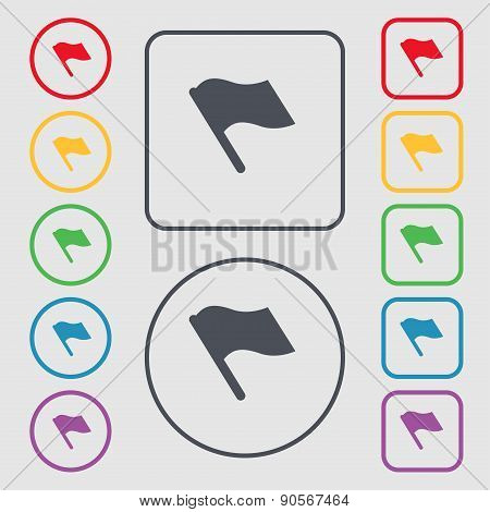 Finish, Start Flag Icon Sign. Symbol On The Round And Square Buttons With Frame. Vector