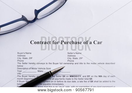 Contract For Purchase Of A Car
