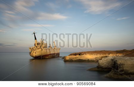 Abandoned Ship On A Rocky Coast