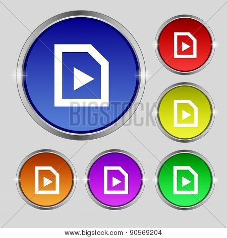 Play Icon Sign. Round Symbol On Bright Colourful Buttons. Vector