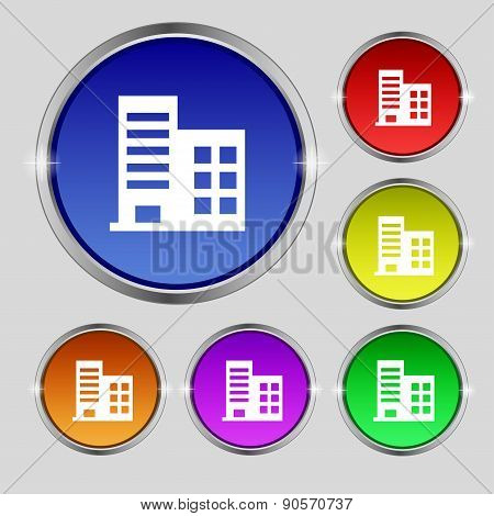High-rise Commercial Buildings And Residential Apartments Icon Sign. Round Symbol On Bright Colourfu