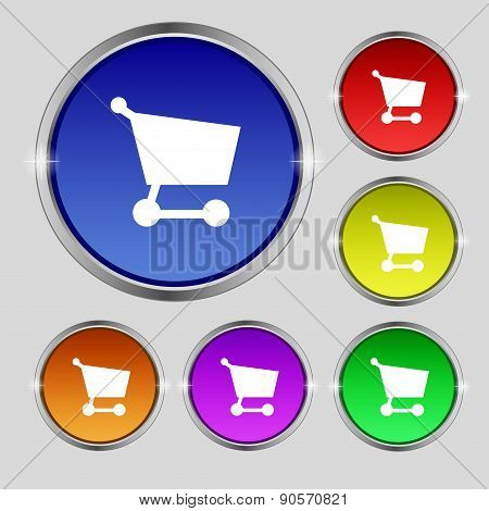 Shopping Basket Icon Sign. Round Symbol On Bright Colourful Buttons. Vector