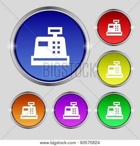 Cash Register Icon Sign. Round Symbol On Bright Colourful Buttons. Vector