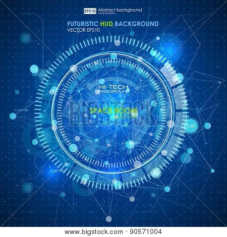 Abstract Futuristic blue virtual graphic touch interface HUD. Connection structure. Vector science background. Abstract blue background. Vector illustration.