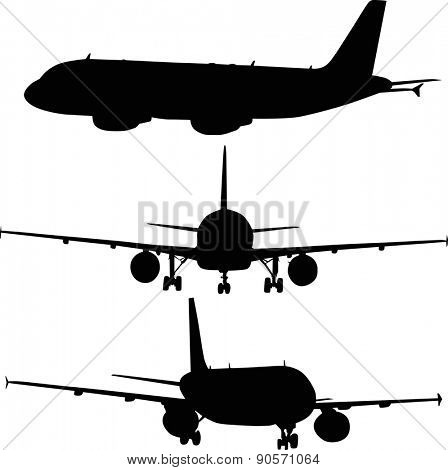 illustration with three airplanes silhouettes isolated on white background