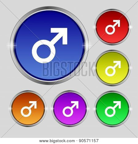 Male Sex Icon Sign. Round Symbol On Bright Colourful Buttons. Vector