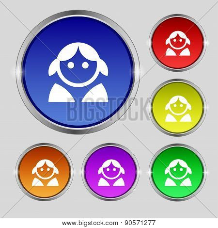 Female, Woman Human, Women Toilet, User, Login Icon Sign. Round Symbol On Bright Colourful Buttons.