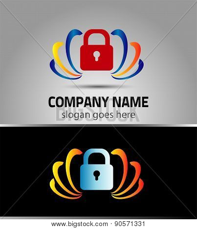 Lock logo protection sign logotype vector icon