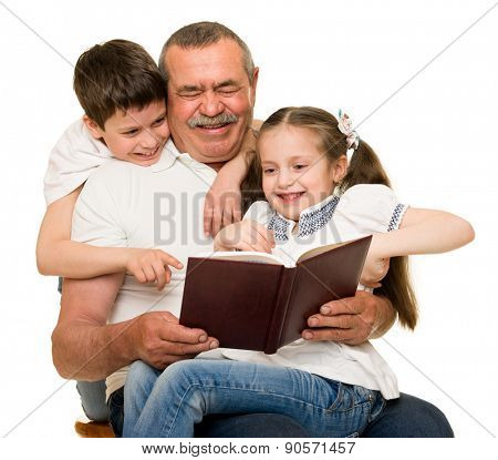 Grandfather and grandchildren portrait studio shoot