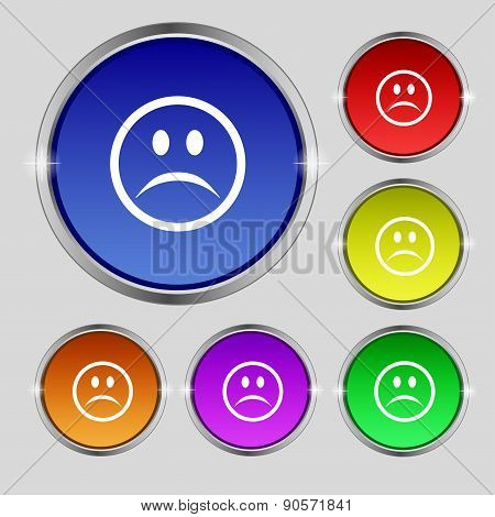 Sad Face, Sadness Depression Icon Sign. Round Symbol On Bright Colourful Buttons. Vector