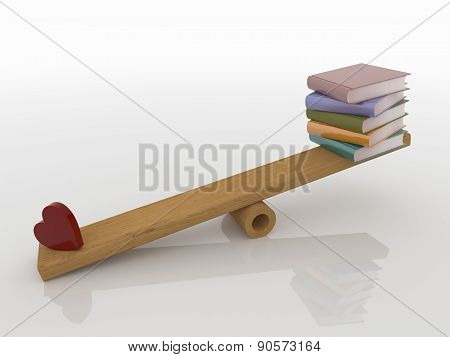 Heart And Books On Seesaw, 3D Render