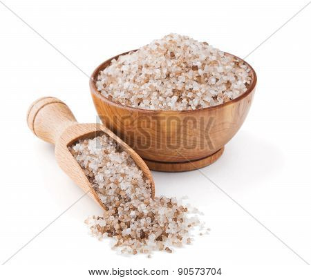 Danish smoked salt in a wooden bowl