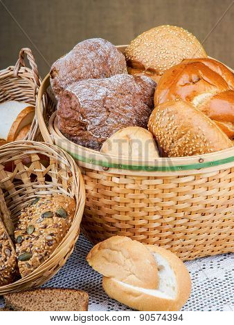 Basket of bread on a tablecloth