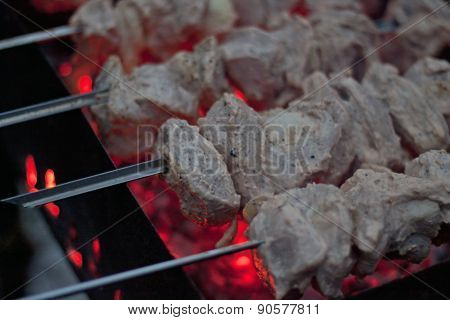 Shashlik (shish Kebab) Grilling On Brazier