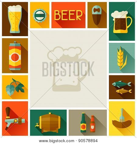 Frame with beer icons and objects in flat style