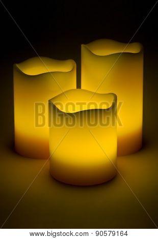 Three Yellow Led Candles