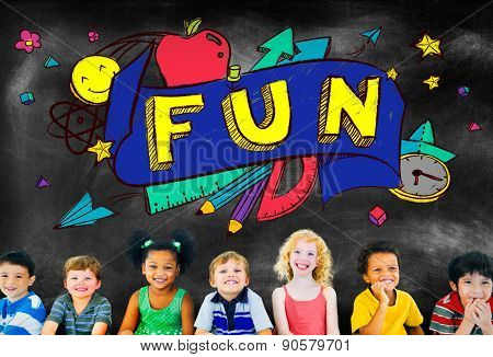 Fun Joy Smiley Stationery Education Concept