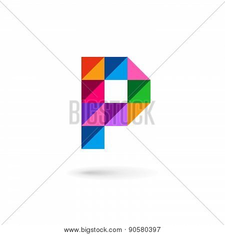 Letter P Mosaic Logo Icon Design Template Elements