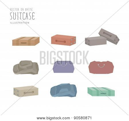 Various Types Of Luggage Flat Vector.