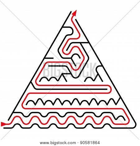 Black Triangular Maze With Help