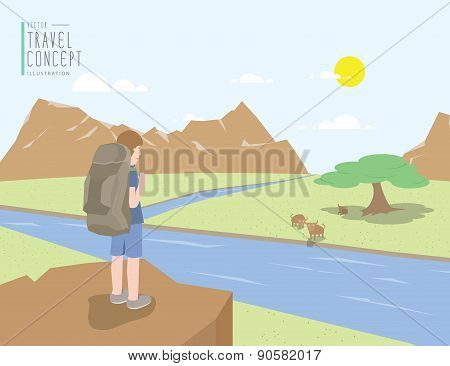 Backpacker Standing On A Cliff Looking Out To The Landscape Mountains View And Animal. On A Clear Da