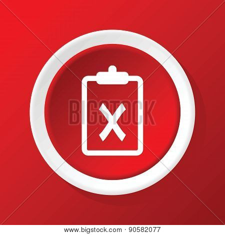 Negative decision icon on red
