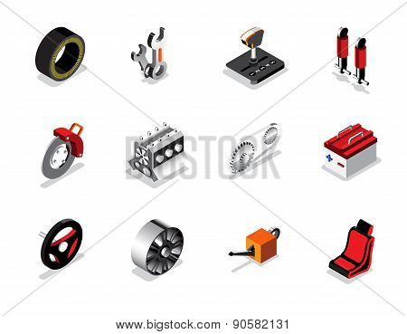 Isometric Car Services Icon And Logo, Tyre, Break, Control, Tool, Engine, Wheel And Etc. Vector Illu
