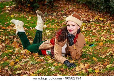 Fashionable Young Woman In Park