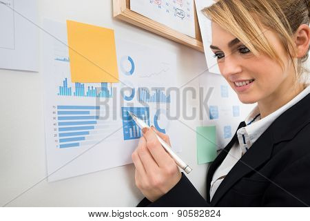 Businesswoman Analyzing Graph Attached To Wall