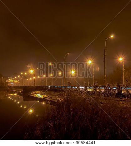 Evening On The River Kalmius. Donetsk. Ukraine Bw