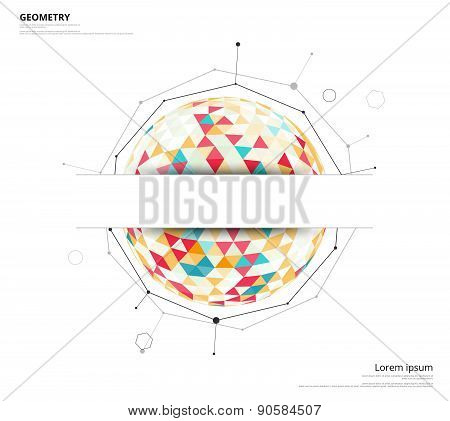 Geometric Circle On White Background With Space To Use Text Or Headline. Blank Template Abstract Bac