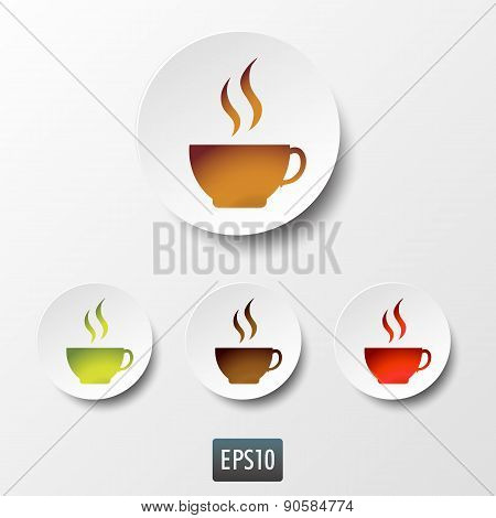 White paper coffee and tea cup icon set