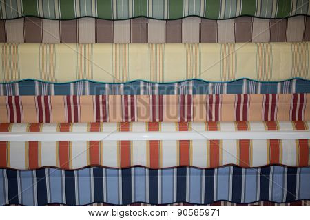 Colorful Set Of Striped Awnings, Colorful Background