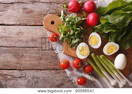 Ingredients For A Spring Salad. Horizontal Top View