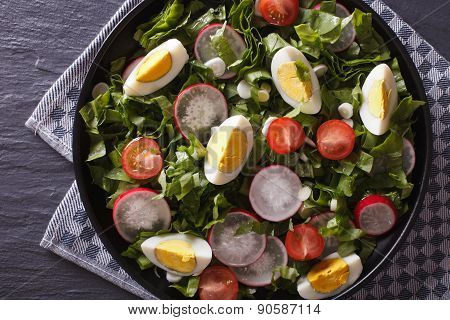 Fresh Salad With Egg, Radishes And Herbs Horizontal Top View
