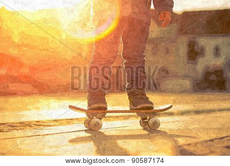 Child with skateboard on the street at sunset light, oil canvas art effect