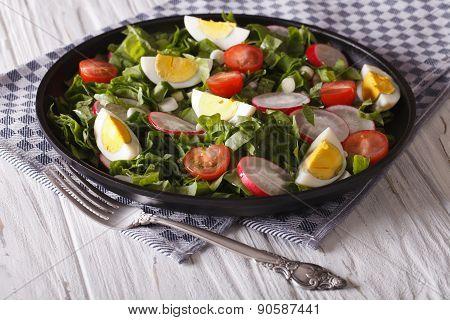 Salad With Eggs, Radishes And Sorrel Closeup. Horizontal