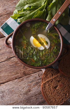 Sorrel Soup Closeup. Vertical Top View