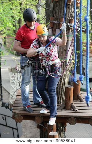 Couple At Adventure Park