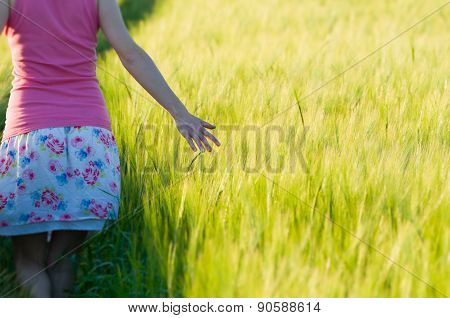 Woman In Barley Field Closeup