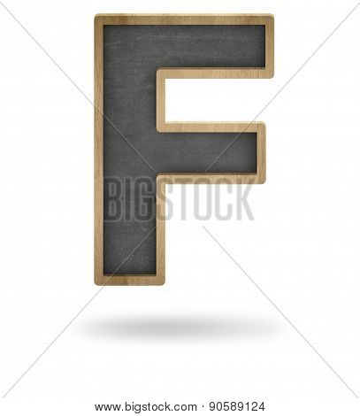 Black blank letter F shape blackboard