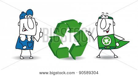 The recycling sign. The super ecology warrior and a worker with a three dimensional eco sign. They want to find a solution for recycling the wastes of their factory.