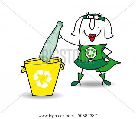 Recycling a plastic bottle with Karen. Karen the Recycle-woman recycles a plastic bottle in a specific trash