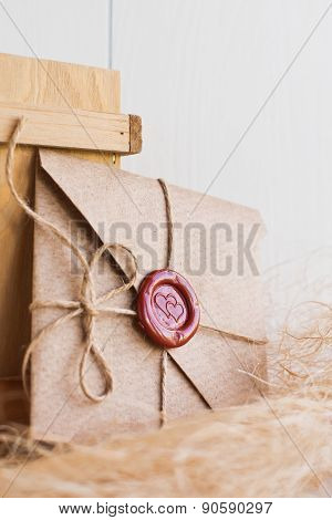 and sending a love letter on  white background