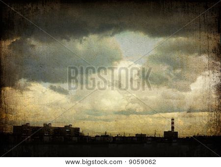 Sky With Dramatic Clouds Over The Ghetto (moscow, Russia). Grunge Background.